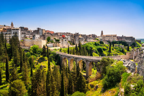 Gravina in Puglia ancient town, bridge and canyon. Apulia, Italy. stock photo