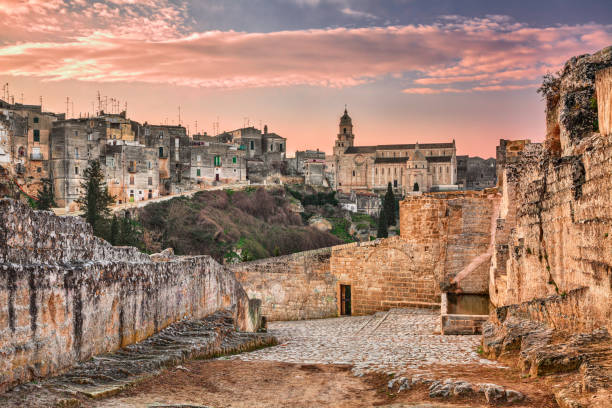 Gravina in Puglia, Bari, Italy: landscape at sunrise of the old town stock photo
