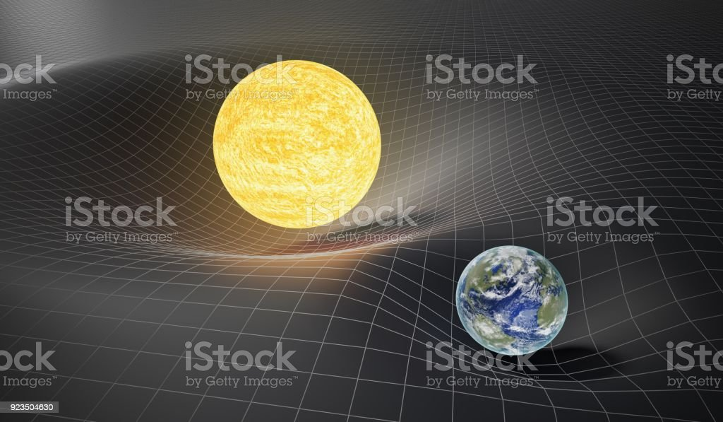 Gravity and general theory of relativity concept. Earth and Sun on distorted spacetime. 3D rendered illustration. stock photo