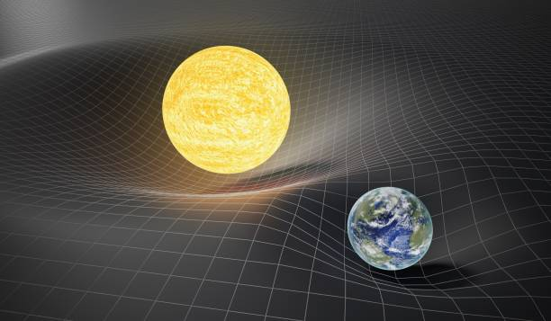 Gravity and general theory of relativity concept. Earth and Sun on distorted spacetime. 3D rendered illustration. Gravity and general theory of relativity concept. Earth and Sun on distorted spacetime. 3D rendered illustration. bending stock pictures, royalty-free photos & images