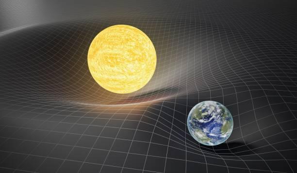 gravedad y la teoría general del concepto de relatividad. tierra y el sol en el spacetime torcido. 3d prestados ilustración. - e=mc2 fotografías e imágenes de stock