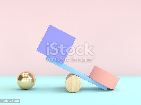 950775710 istock photo gravity concept abstract geometric shape cube sphere 3d rendering 950775658