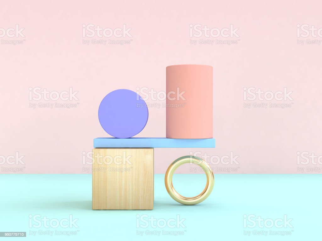 gravity concept abstract geometric shape pastel colorful 3d rendering stock photo