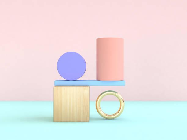 schwerkraft-konzept abstrakte geometrische form pastell bunt 3d-rendering - stilleben stock-fotos und bilder
