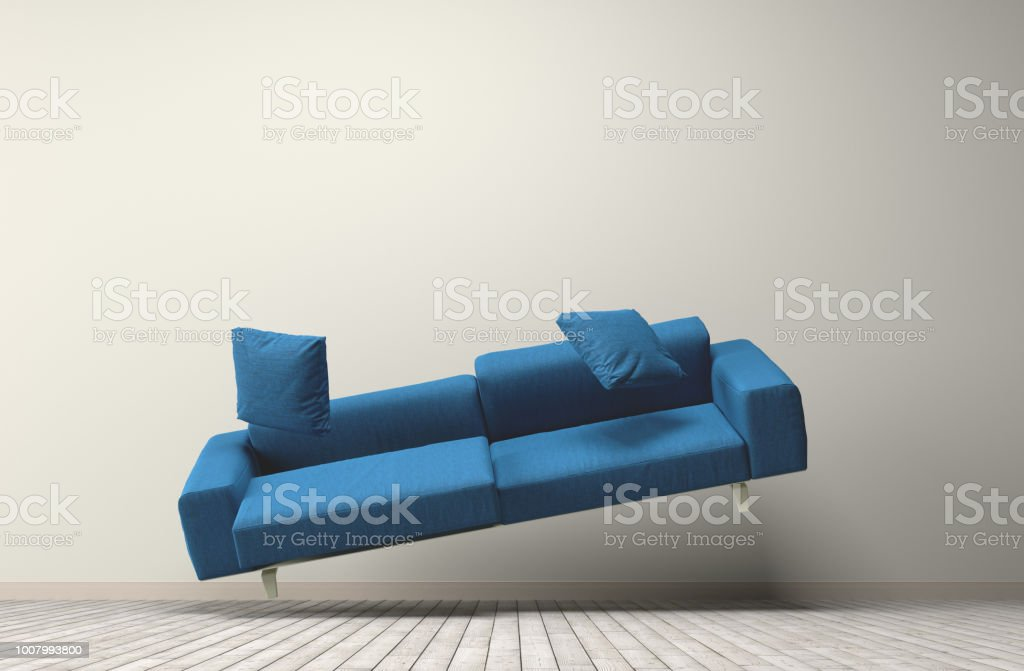 Gravity concept blue couch stock photo