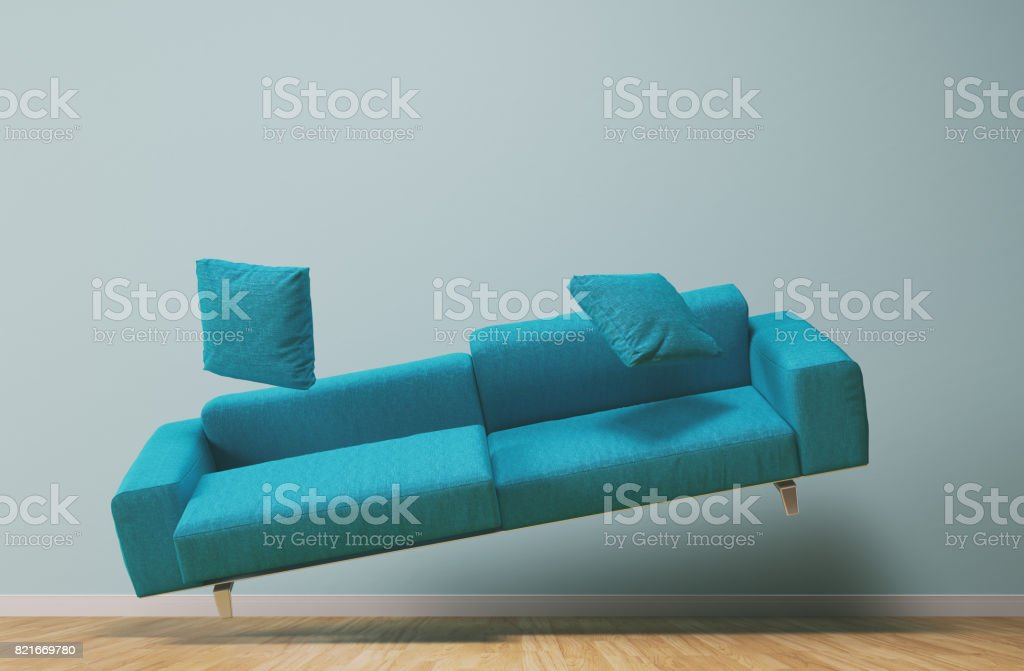Gravity concept turquoise couch stock photo