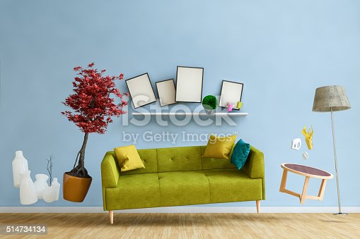 Weightless furnitures flying in a living room