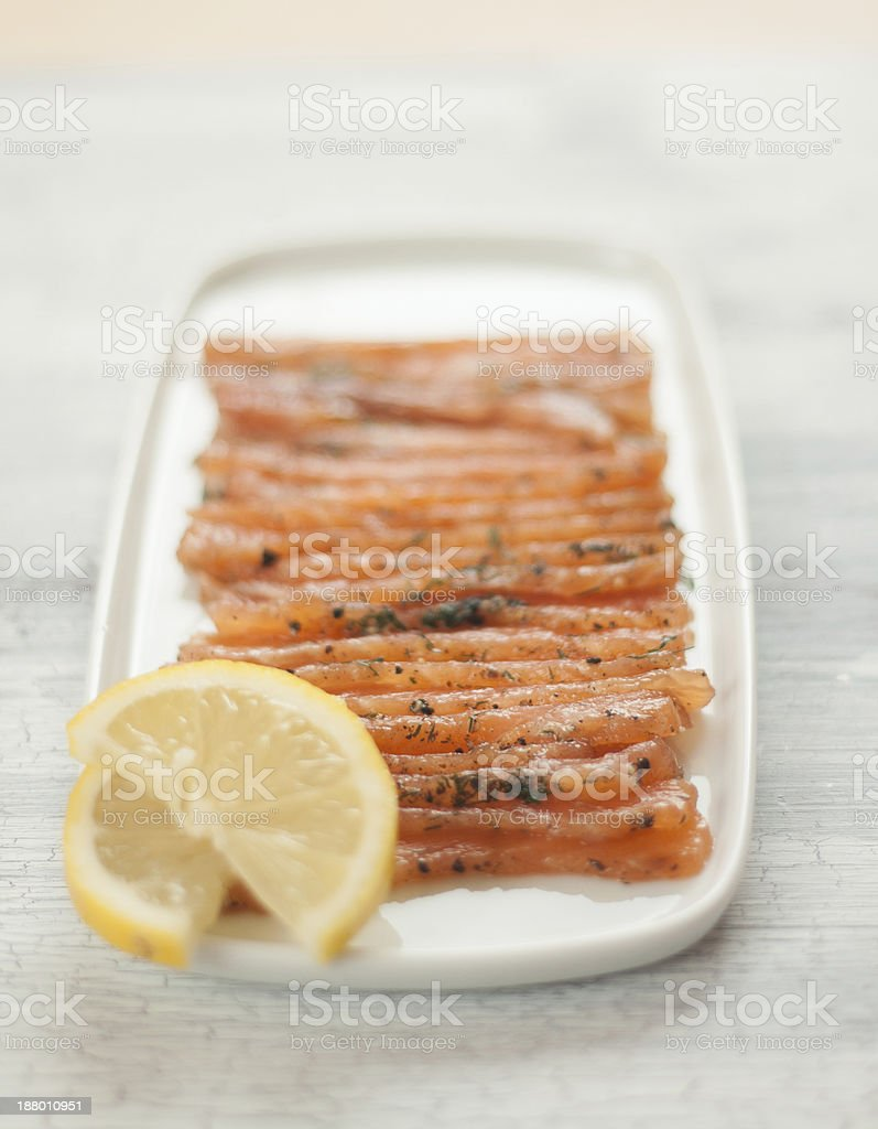 Gravlax Salmon Appetizer stock photo