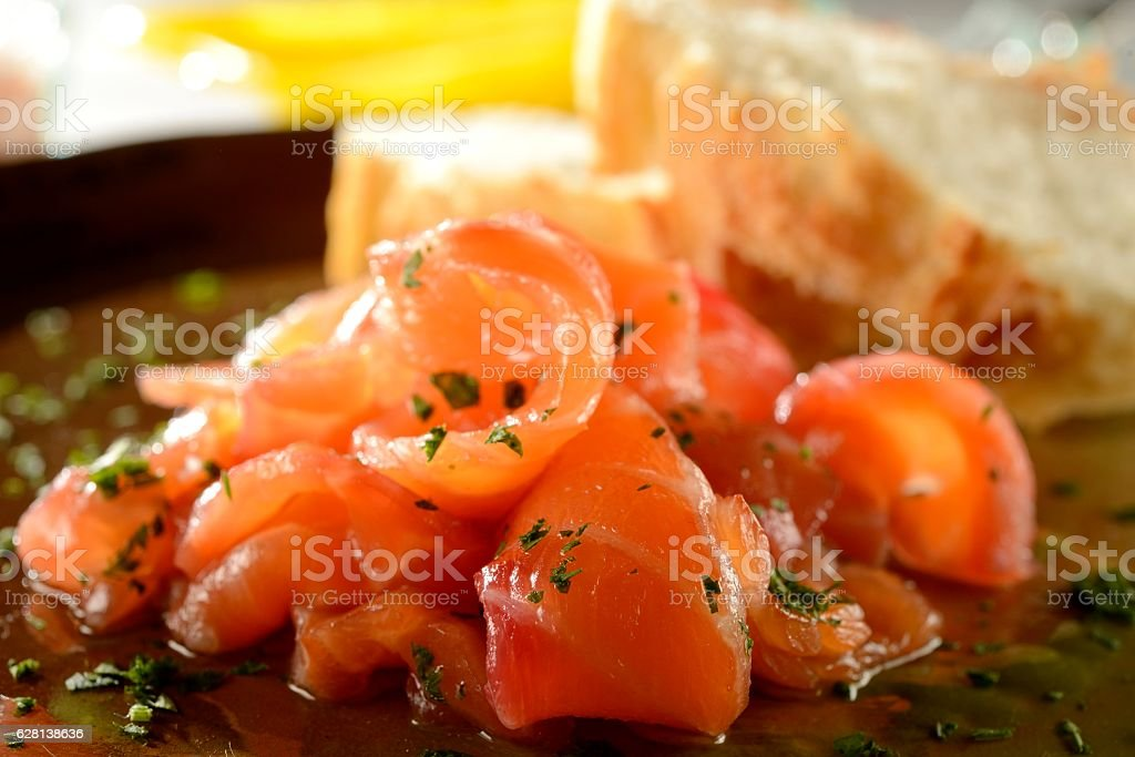 Gravlax Salmon stock photo