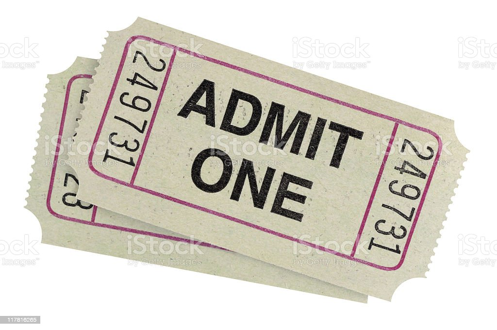 Gray admission tickets stock photo