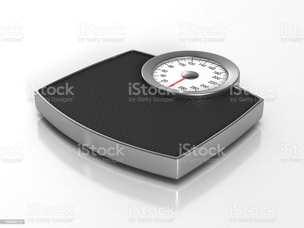 A gray and black traditional weight scale stock photo