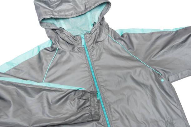 windbreaker wasserdicht und regen beweis hoodies farbe grau und blau glänzende jacke durchgehender reißverschluss - zip hoodies stock-fotos und bilder