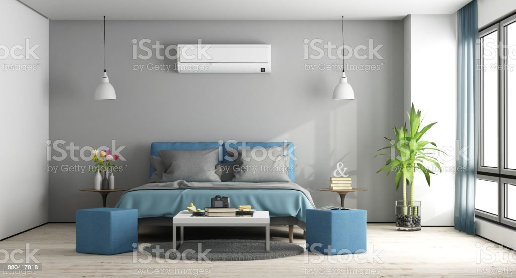 Gray and blue master bedroom - foto stock