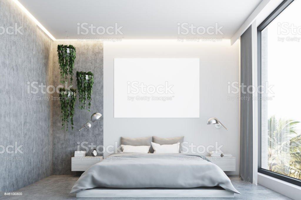 Grau Und Konkrete Schlafzimmer Poster Stockfoto und mehr Bilder von Bett