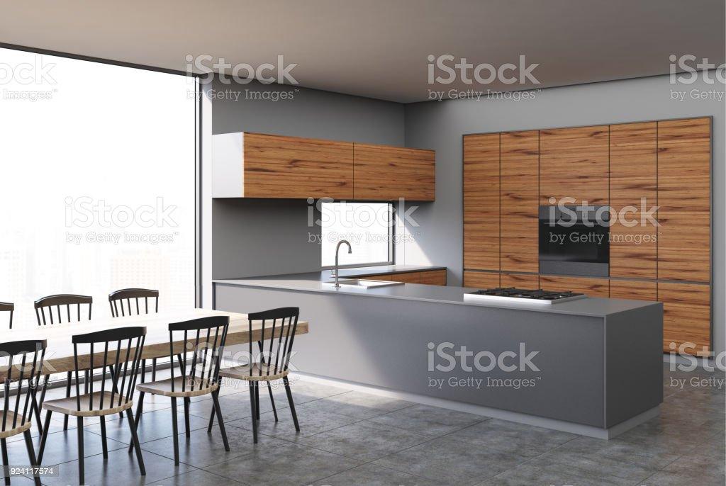 Grau Und Dunkel Aus Holz Küche Stockfoto und mehr Bilder von ...