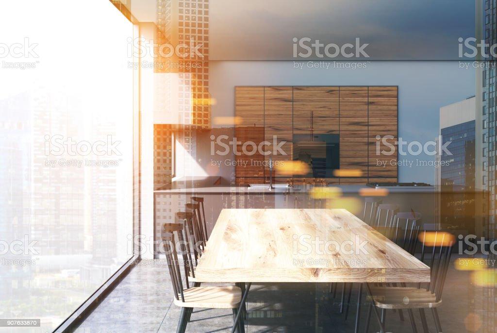 Holz Küchentisch Grau Und Dunkel Getönten Stockfoto und mehr ...