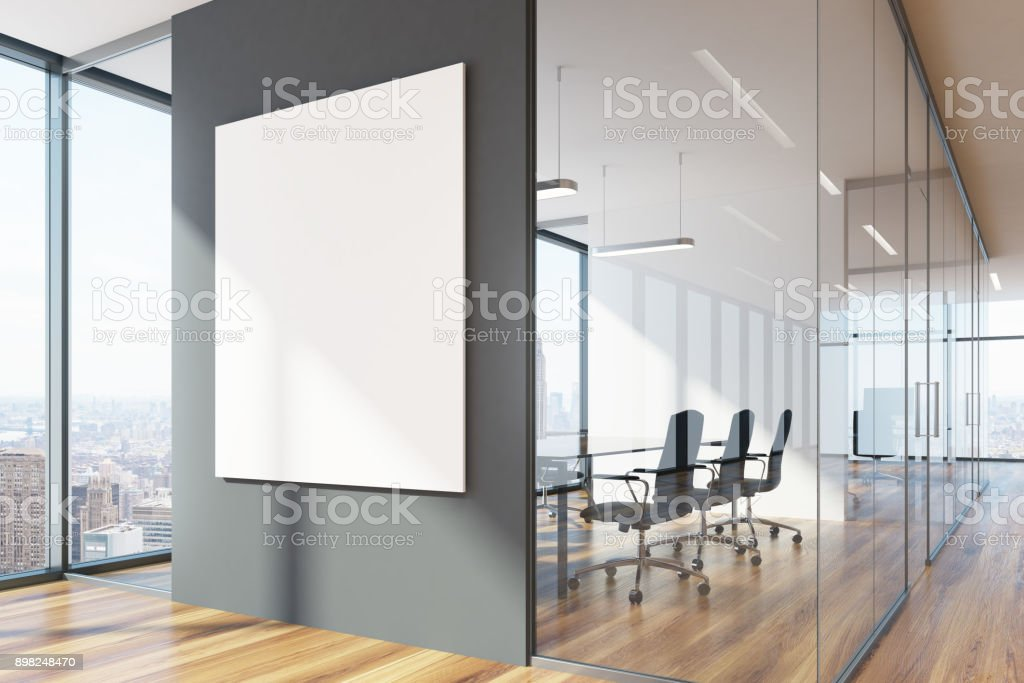 Gray and glass waiting area and conference room stock photo