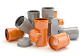 Gray and orange elements for sewer system, 3D illustration