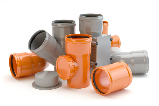 gray and orange elements for sewer system, 3d illustration - pipe tube stock pictures, royalty-free photos & images