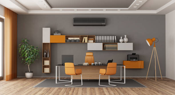 Gray and orange modern office - foto stock