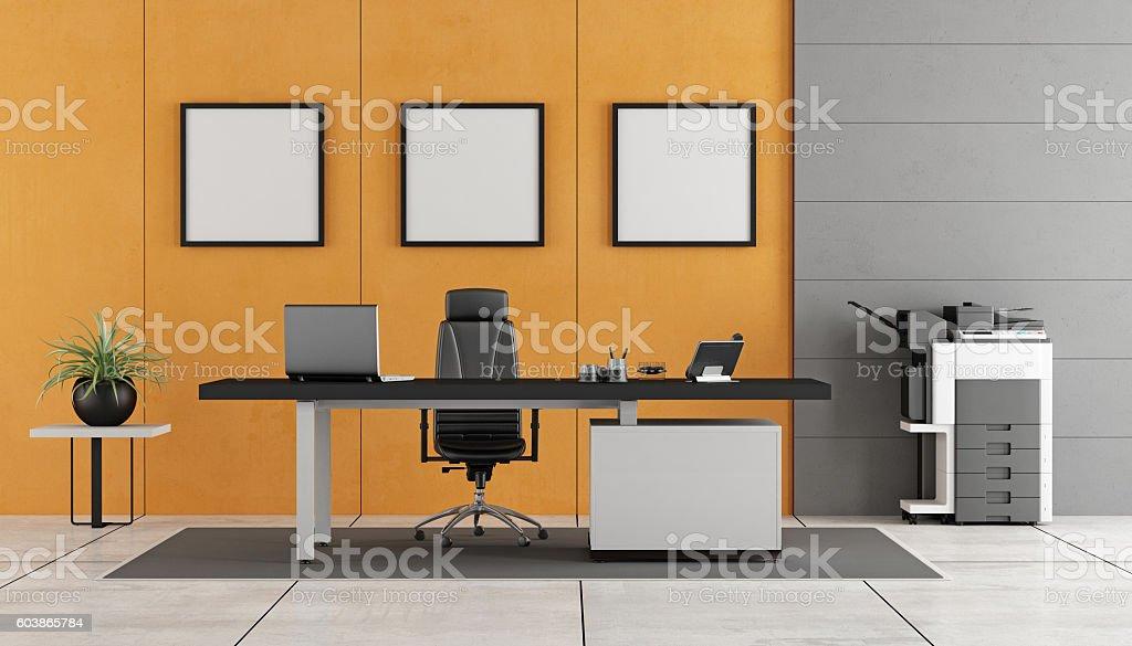 Gray and orange modern office stock photo
