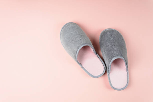 Gray and pink home slippers on a pastel paper background. Top view. Copy space stock photo