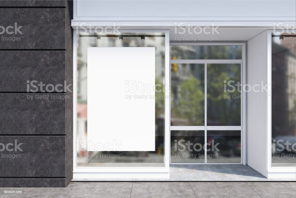 Gray and white cafe facade, poster close up stock photo