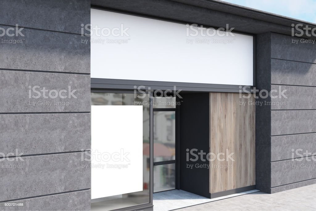 Gray and white cafe facade, poster side stock photo