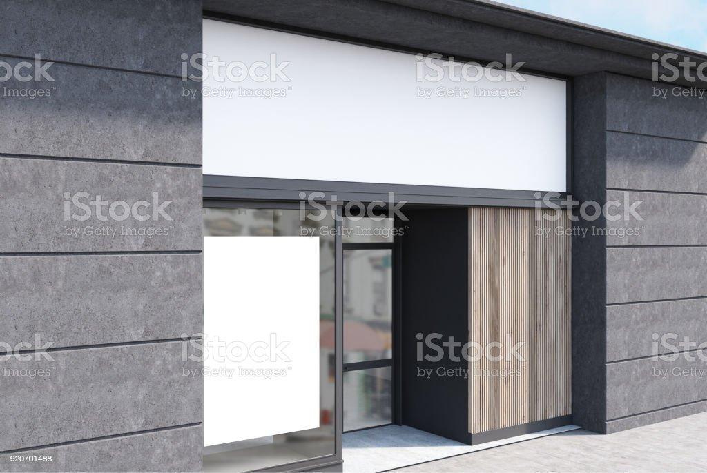 Graue und weiße Café Fassade, Plakat-Seite – Foto