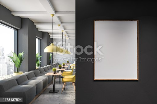 Interior of family restaurant with gray and white walls, stone floor, gray sofas and yellow and white chairs near square wooden tables. Vertical mock up poster frame. 3d rendering