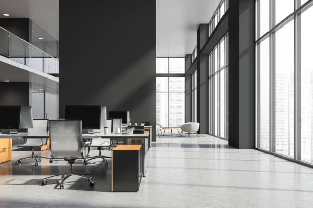 Gray and white office interior stock photo