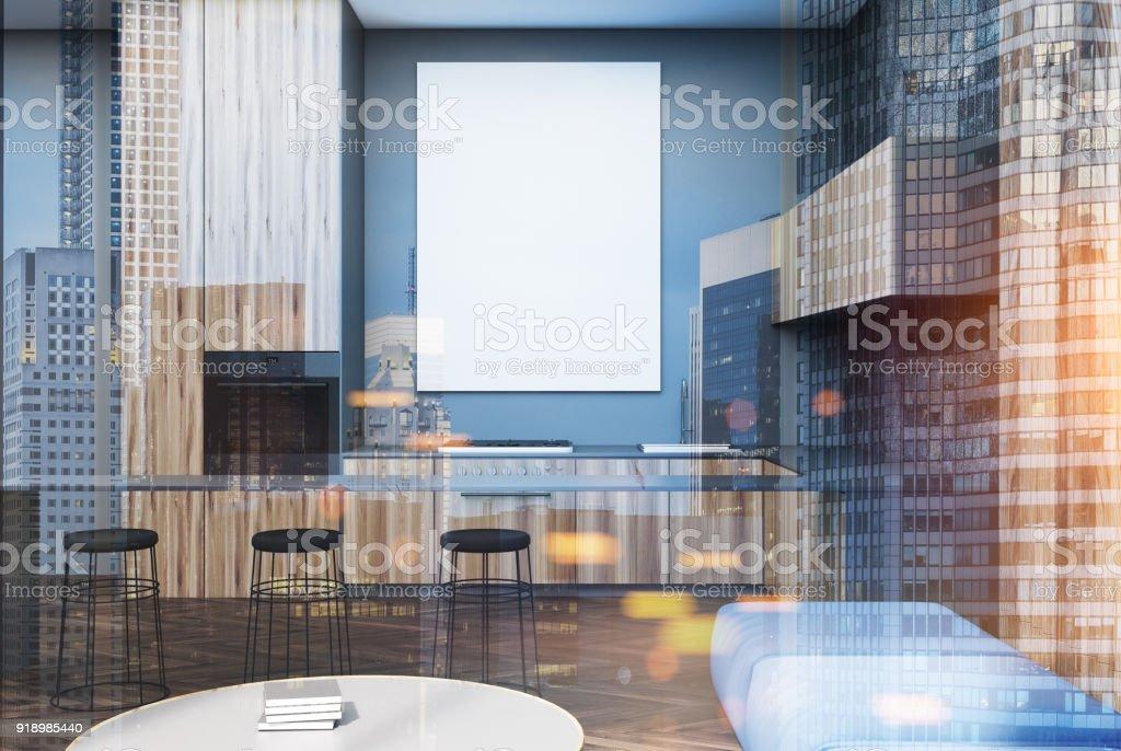 Photo libre de droit de Salon Gris Et Bois Tabourets De Bar ...