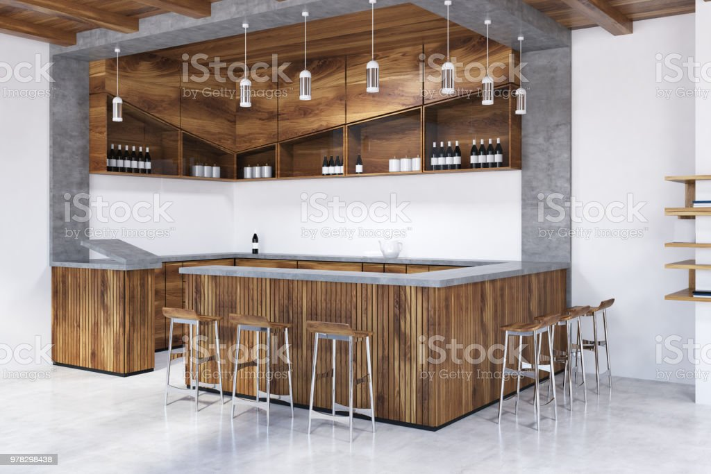 6dcd3f4b60b9 Gris y madera de la barra vistas al contador foto de stock libre de derechos