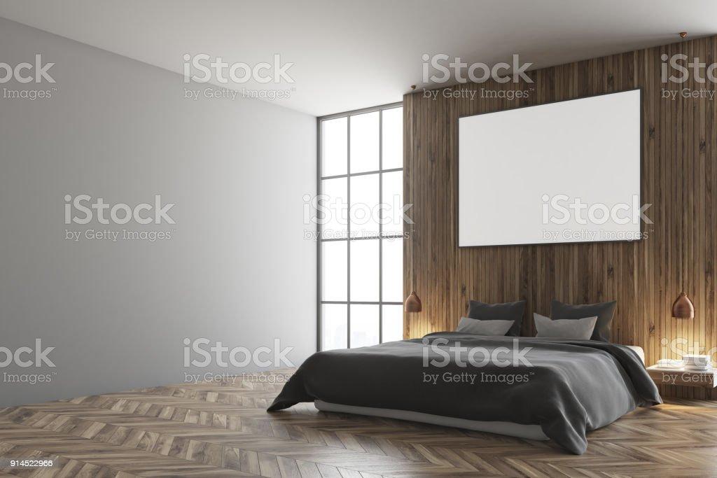 Grau Und Holz Schlafzimmer Graue Bett Poster Stockfoto und mehr ...