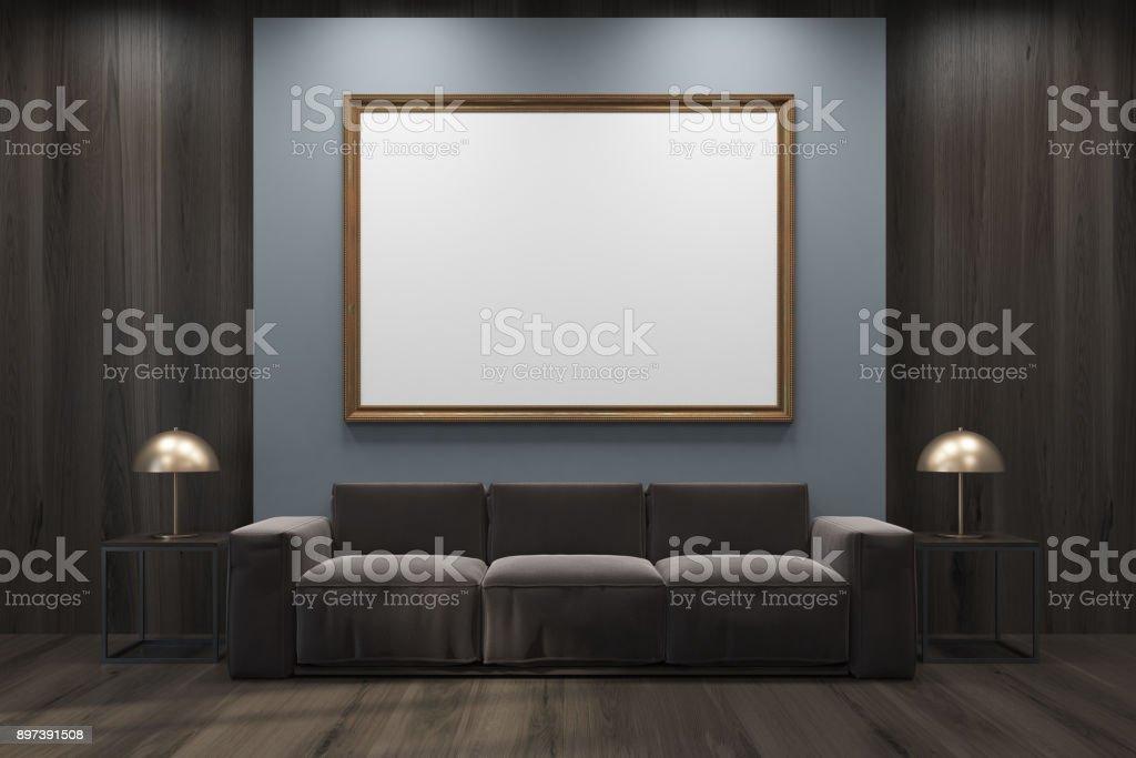 Grau Und Hölzerne Wohnzimmer Sofa Gerahmte Poster Stockfoto ...