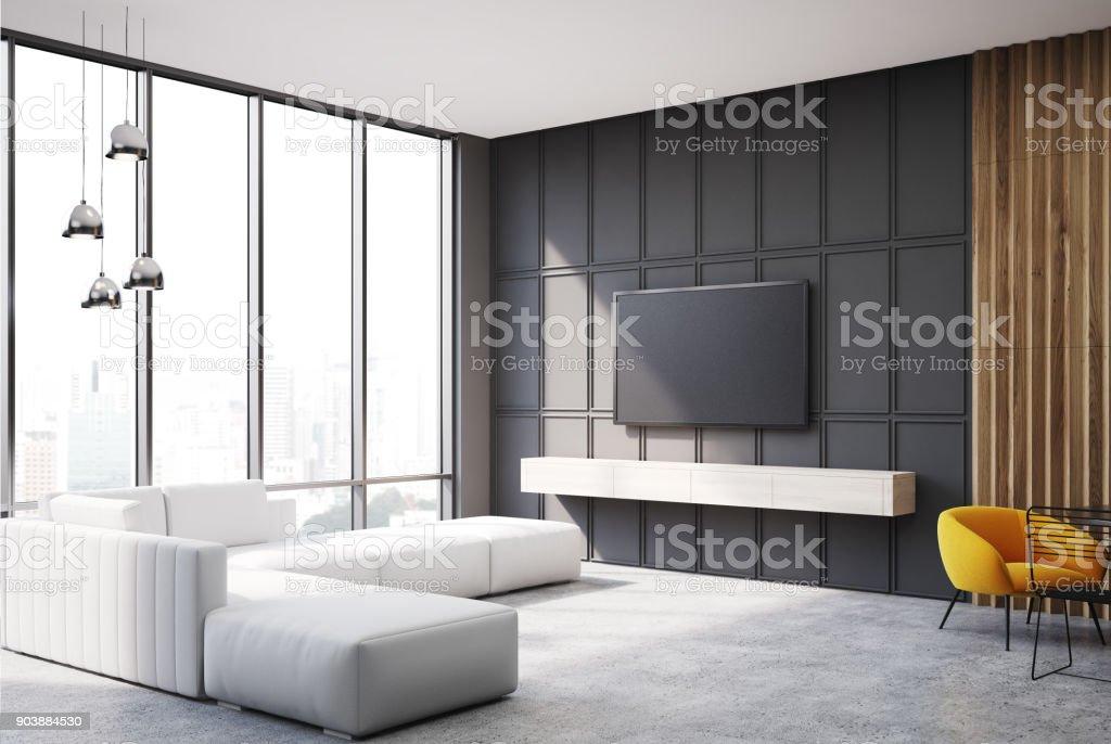 Photo libre de droit de Aspect De Jeu Et Canapé Tv Salon ...