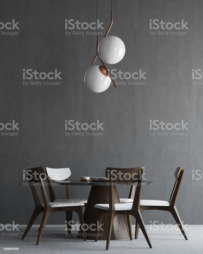 Gray and wooden minimalistic dining room interior stock photo