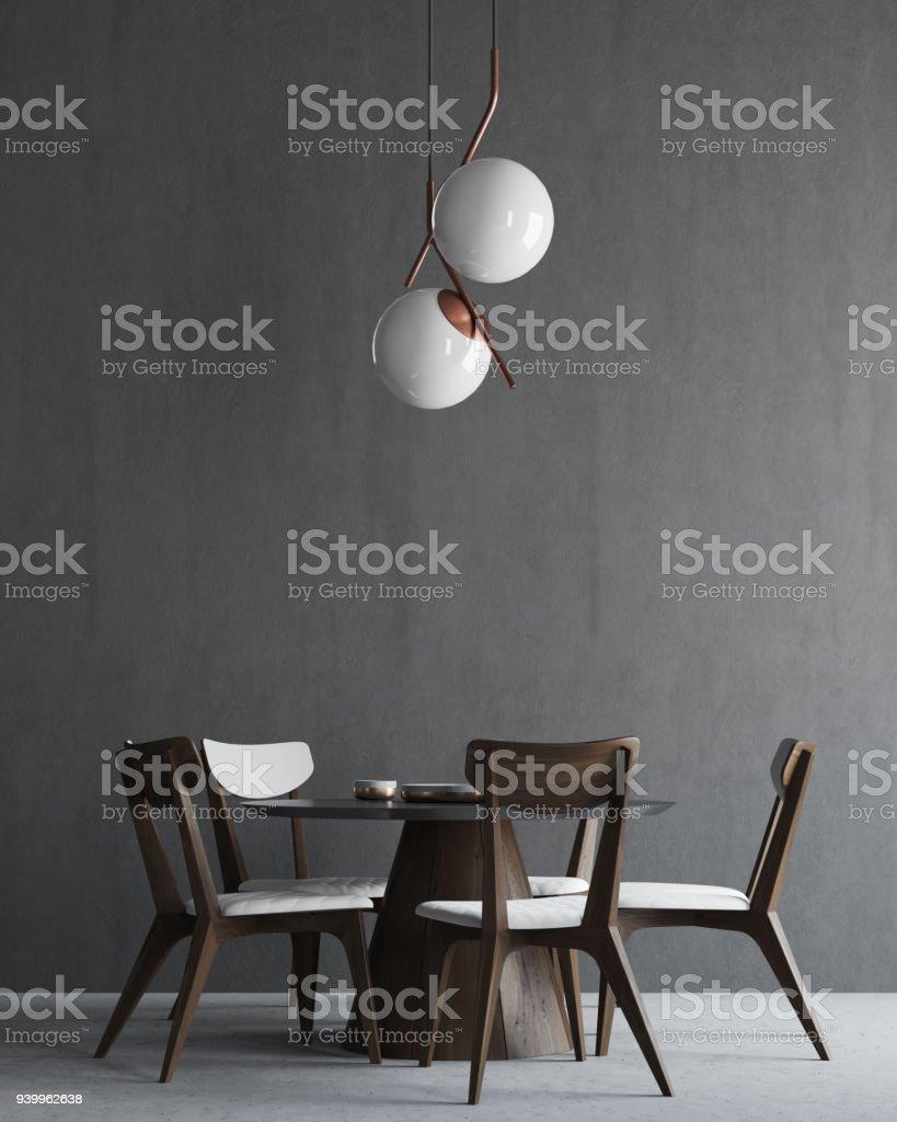 Grau und Holz minimalistisch Esszimmer-Interieur – Foto