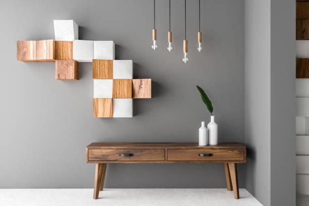 gray and wooden tiles living room, cabinet - sideboard imagens e fotografias de stock