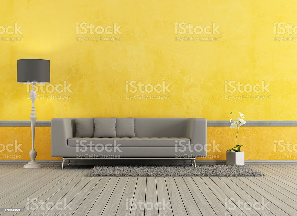 Grigio e giallo soggiorno - foto stock