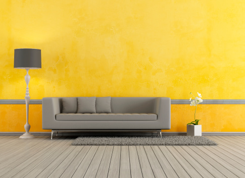 Gray And Yellow Living Room Stock Photo Download Image Now Istock