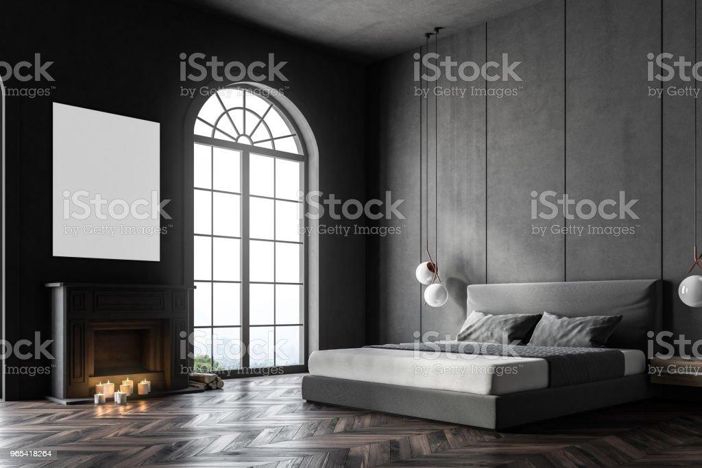 Gray arched window bedroom corner, poster zbiór zdjęć royalty-free