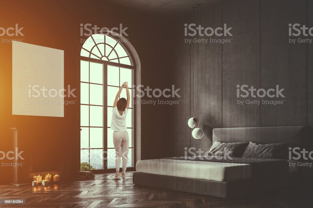 Gray arched window bedroom corner, poster toned - Royalty-free Adult Stock Photo