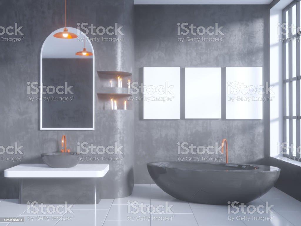 Badkamer Beton Interieur : Grijze badkamer interieur met een betonnen vloer een bad een