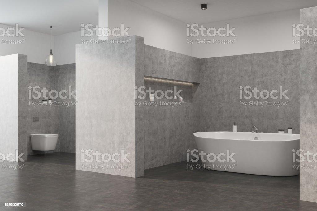 Graue Badezimmer Mit Einer Weißen Wanne Wc Stockfoto und mehr Bilder ...