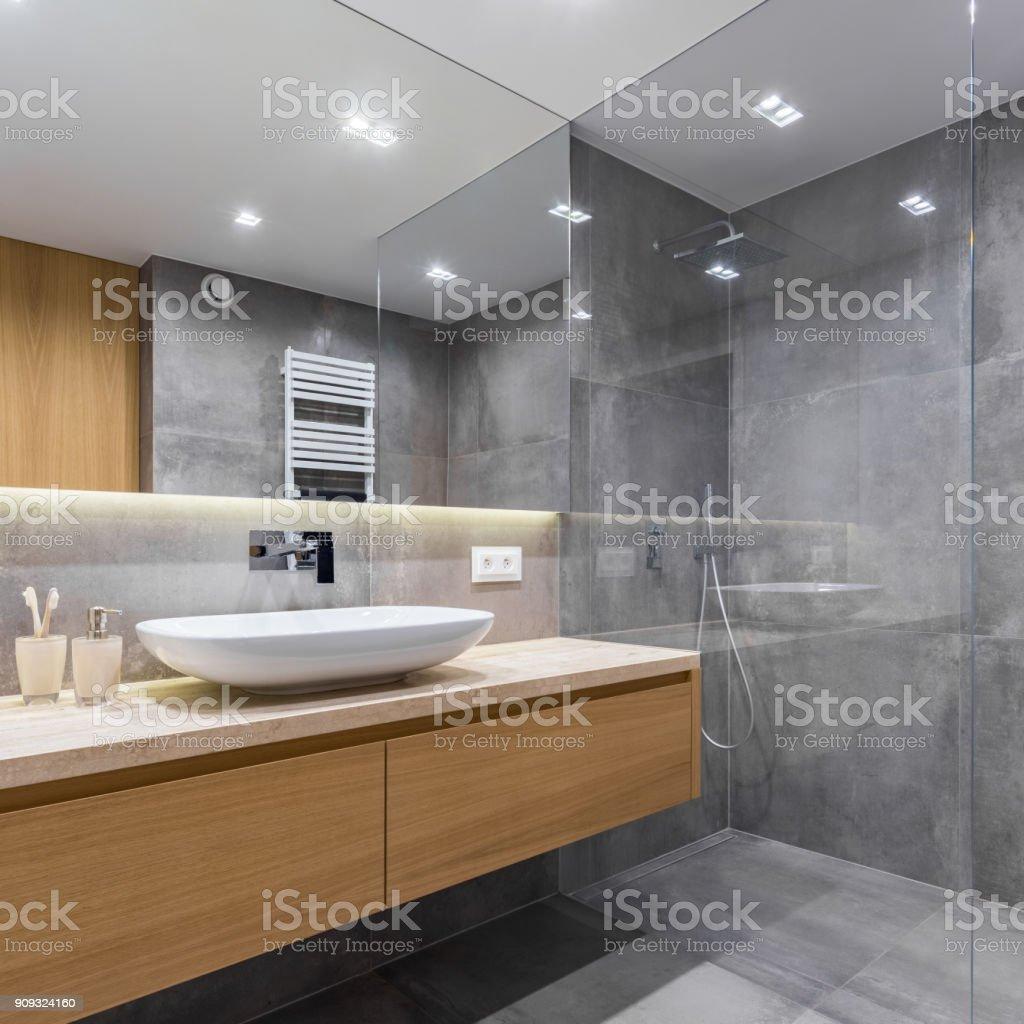 Graue Badezimmer Mit Langen Arbeitsplatte Stockfoto und mehr Bilder von  Architektur