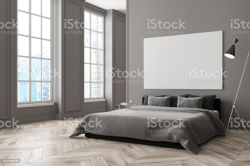 Gray bedroom corner, poster stock photo