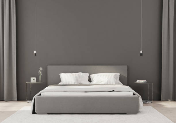 Gray bedroom in a minimalist style stock photo