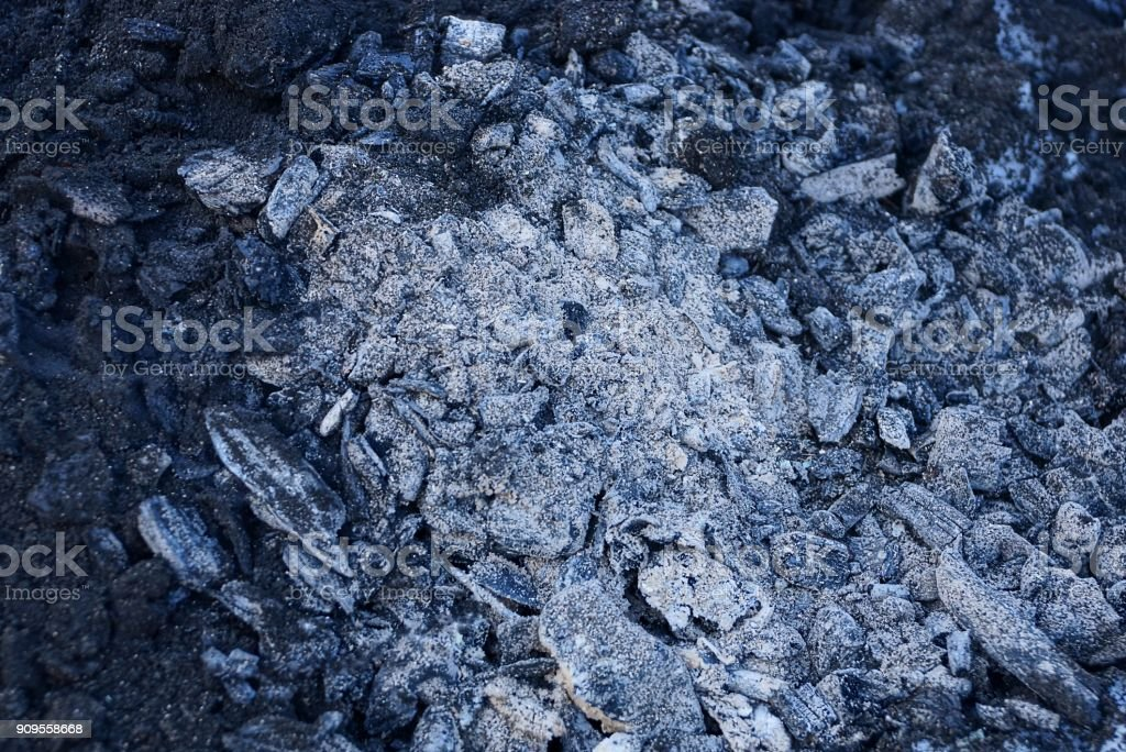 gray black texture from burned coals and sang an extinct fire stock photo
