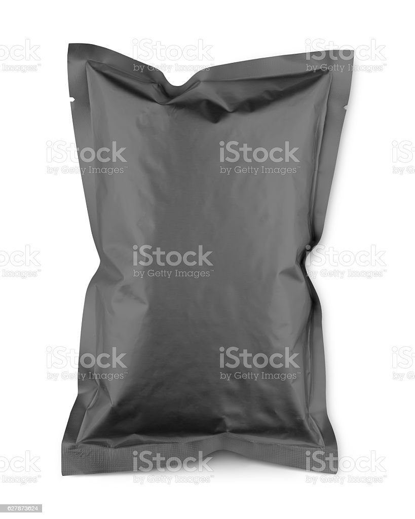 Gray blank snacks food packaging plastic bag with clipping path stock photo